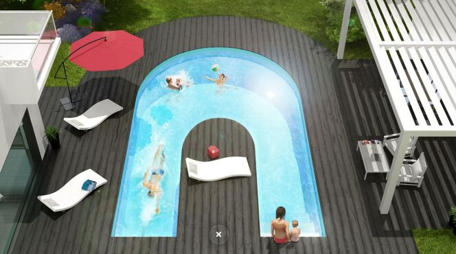 """1 piscine, 3 ambiances grâce à l'Alpha-b d'Aquilus<span class=""""normal italic petit"""">© Aquilus</span>"""