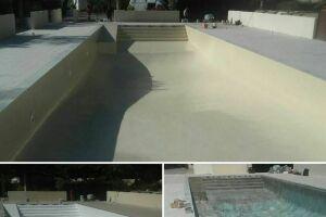 rénovation bassin finition gel coat beige
