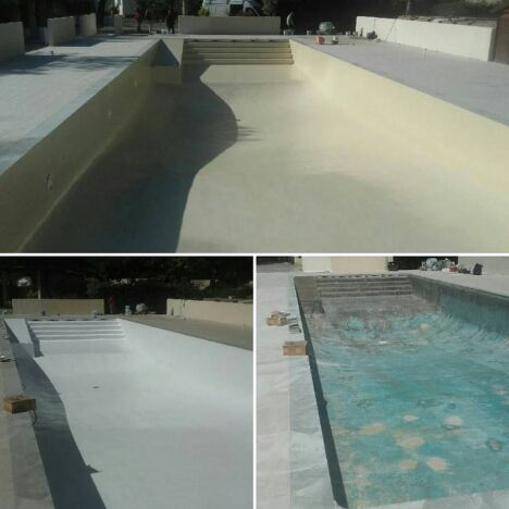rénovation bassin finition gel coat beige