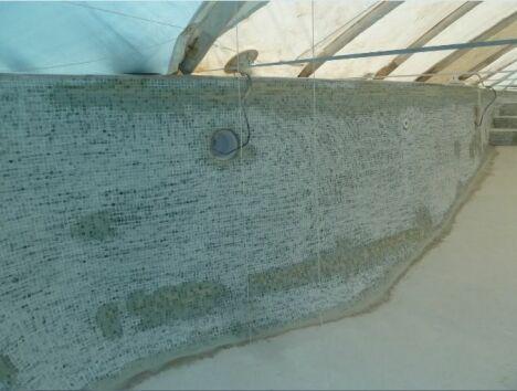 Rénovation d'une piscine. Debut des travaux de revêtement en résine et fibre de verre. Colmatage des fissures.