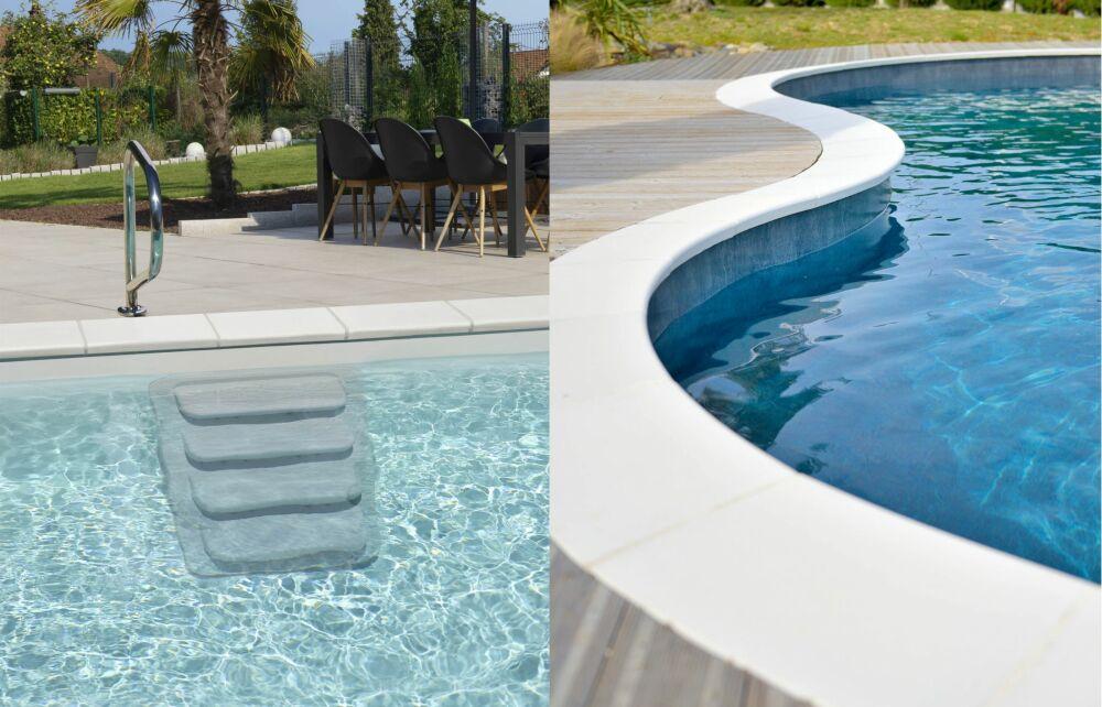 A gauche, l'escalier de piscine Instep. A droite, des margelles Stone ainsi qu'un liner de piscine marbré ardoise.© Piscines Waterair