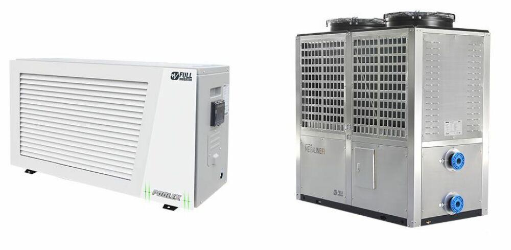 A gauche, la pompe à chaleur Articline Fi, à droite le modèle Megaline Fi© Poolex