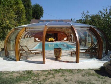 Abri de piscine haut avec rotonde ouvrante