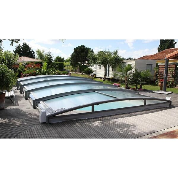 Abri de piscine t lescopique cintr azenco for Abri piscine telescopique