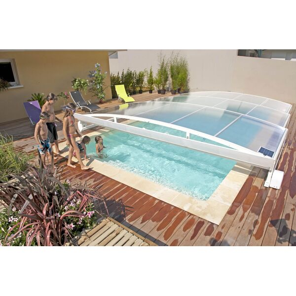 Abri de piscine t lescopique plat stretto abrid al for Abri piscine telescopique