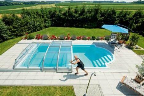 Abri de piscine télescopique bas