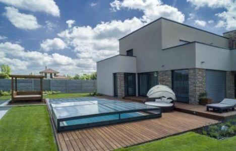 Abri de piscine télescopique plat couleur anthracite