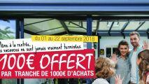 100€ offerts tous les 1000€ d'achat chez Akenda Verandas