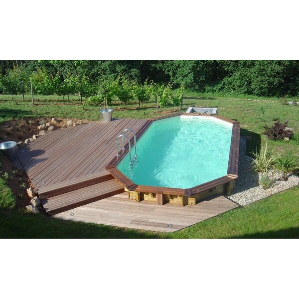 Piscine semi enterree design orleans 12 for Piscine teck semi enterree