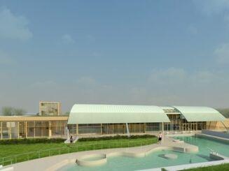 La piscine Aquarelles à Saintes, vue de l'extérieur