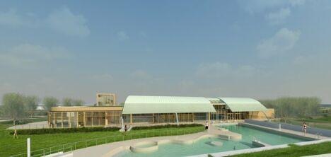 """La piscine Aquarelles à Saintes, vue de l'extérieur<span class=""""normal italic petit"""">DR</span>"""