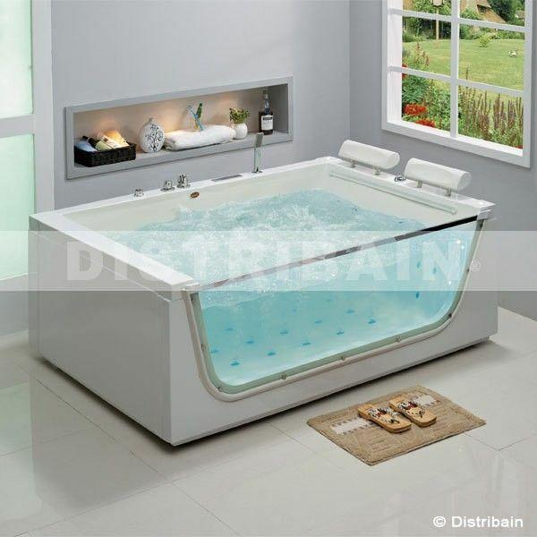 Baignoire baln o 2 places g saint tropez par distribain - Vitre pour baignoire ...
