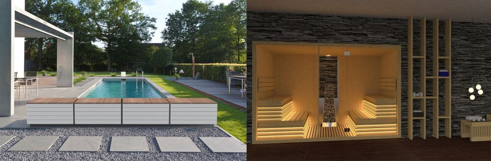 Banc Zen'It et sauna Miramonte, par Astralpool© Fluidra - Astralpool