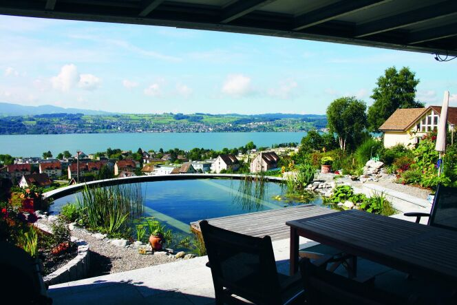 Bassin de baignade biologique avec vue© Living-Pool de BIOTOP - www.baignade-ecologique.com