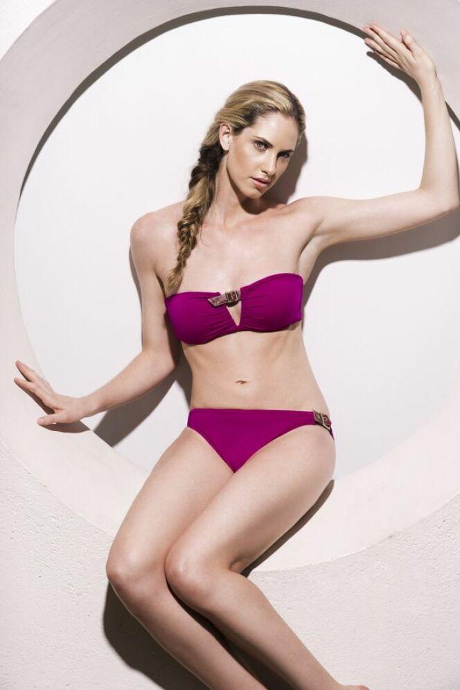 Bikini bandeau à armatures rose fushia Jog Swimwear