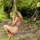 Bikini bandeau à rayures multicolores Billabong été 2013