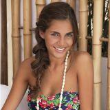 Bikini bandeau fleuri rouge, bleu et vert Coachella - Banana Moon Teen