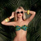 Bikini bandeau torsadé imprimé tropical Treasure Island Huit été 2013