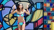 Bikini bleu et rose tendance color block par The Bikini Lab