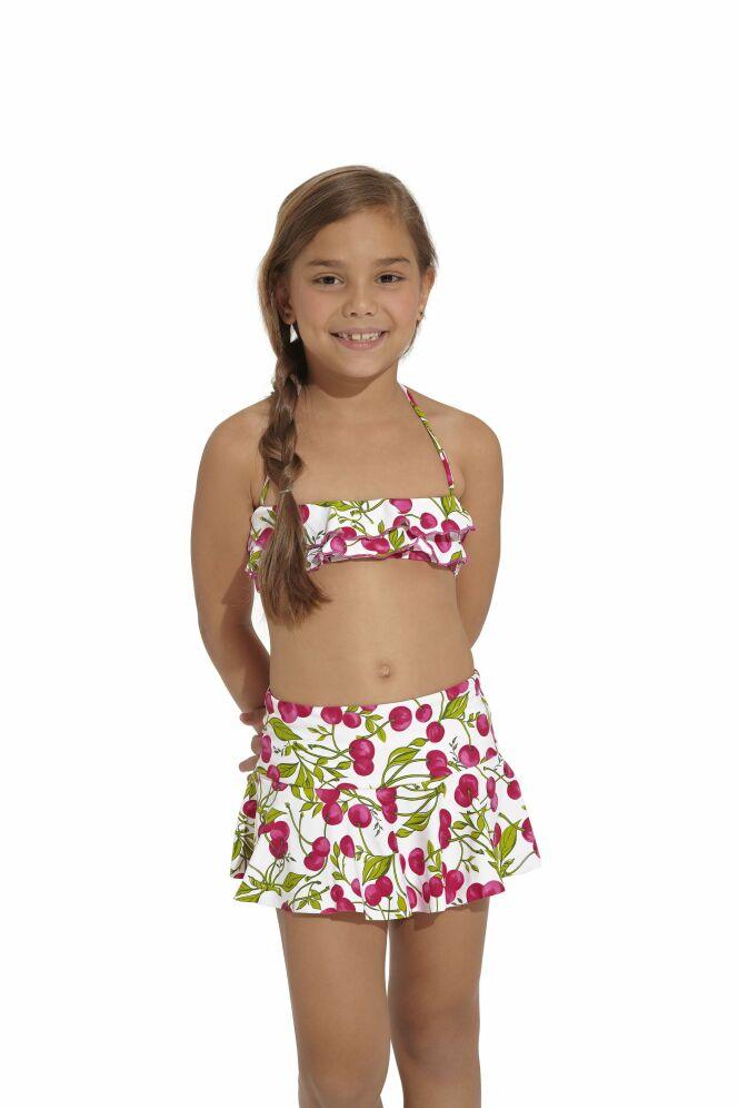 Bikini enfant imprimé cerise et jupette assortie OndadeMar 2013
