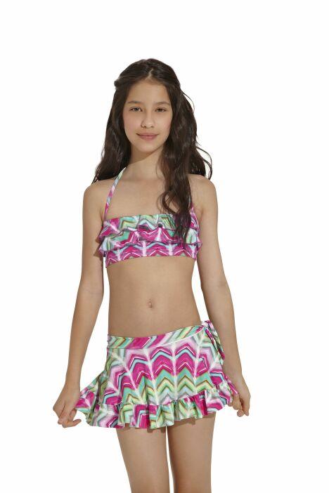 """Bikini enfant imprimés géométriques et jupette assortie OndadeMar 2013<span class=""""normal italic petit"""">© OndadeMar</span>"""
