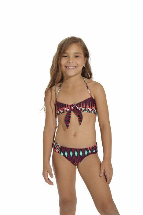 Bikini fille imprimé ethnique rouge, orange et turquoise OndadeMar 2013
