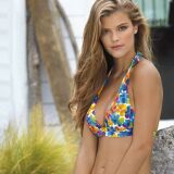 Bikini fleuri multicolore bretelles larges et jupette Flowers - Banana Moon