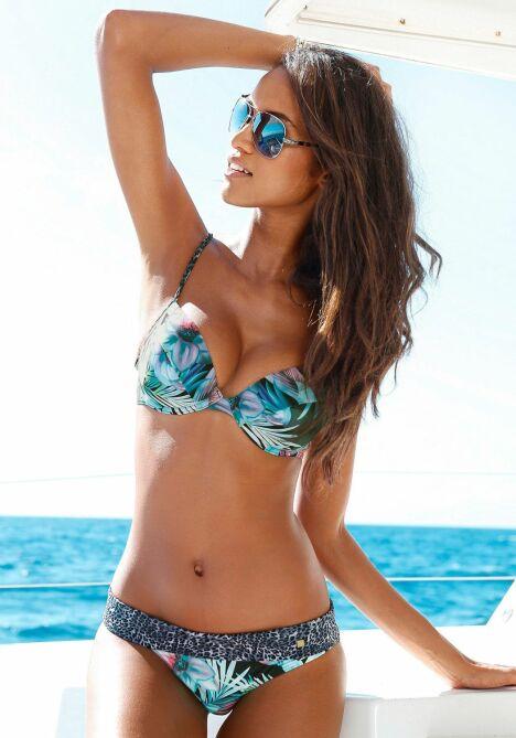 Bikini push up bleu motif tropical