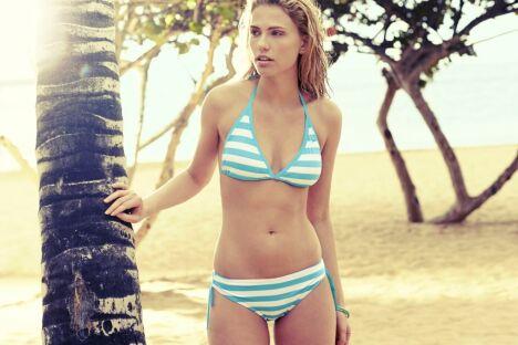 "Bikini triangle à rayures bleues turquoises - Speedo 2014 <span class=""normal italic petit"">© Speedo</span>"