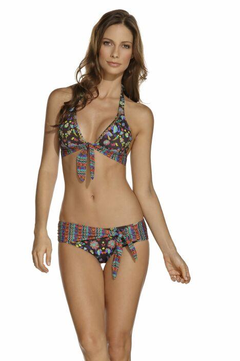 Bikini triangle mélange d'imprimés ethniques et motif paon OndadeMar 2013