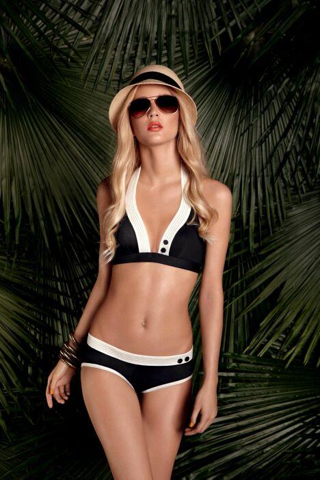 Bikini vintage noir et blanc shorty assorti Huit collection Smarty été 2013
