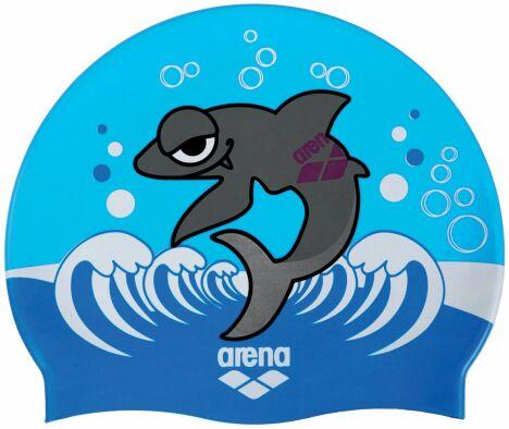 """Bonnet de bain enfant bleu motif petit requin<span class=""""normal italic petit"""">© Arena</span>"""