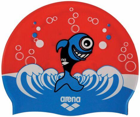"""Bonnet de bain enfant rouge et bleu motif petit poisson<span class=""""normal italic petit"""">© Arena</span>"""