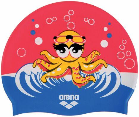 """Bonnet de bain enfant rouge et bleu motif petite pieuvre<span class=""""normal italic petit"""">© Arena</span>"""