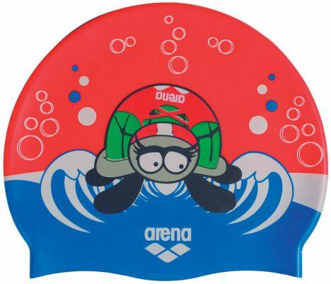 """Bonnet de bain enfant rouge et bleu motif petite tortue<span class=""""normal italic petit"""">© Arena</span>"""