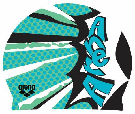 """Bonnet de bain Poolish Comics vert irlandais Arena<span class=""""normal italic petit"""">© Arena</span>"""