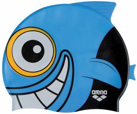 "Bonnet de bain requin bleu aileron Arena<span class=""normal italic petit"">© Arena</span>"