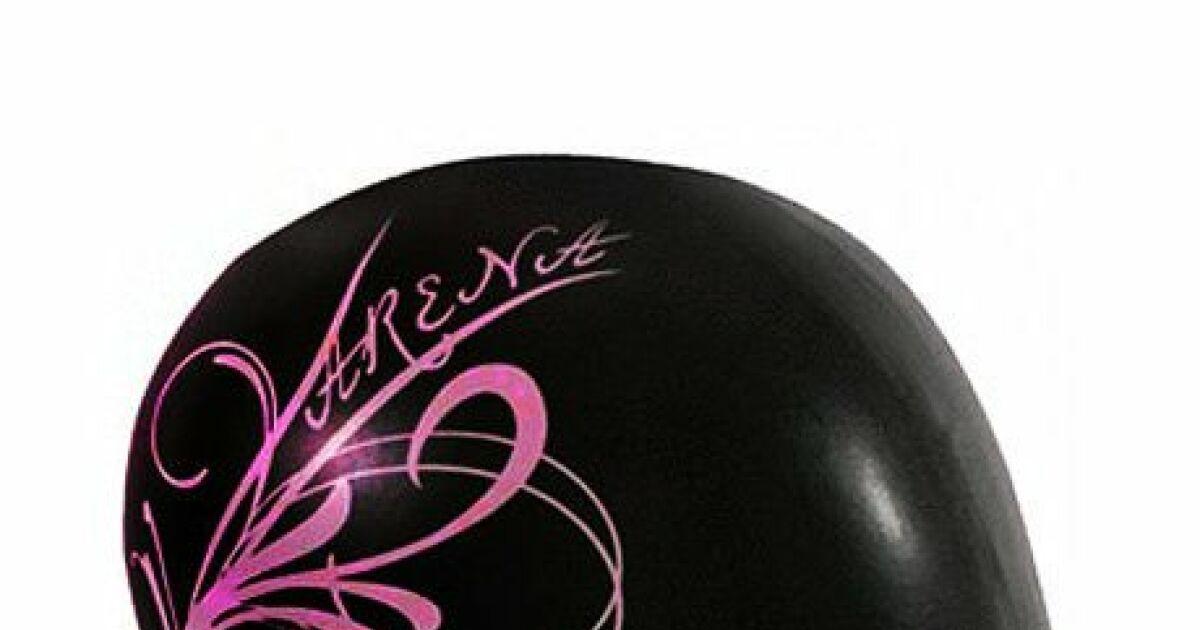 bonnet de bain femme sirene noir rose arena. Black Bedroom Furniture Sets. Home Design Ideas