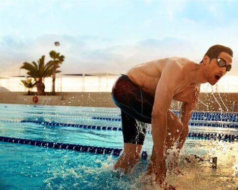 "Caleçon de bain imprimé rouge spécial natation Speedo Swim Fitness 2014<span class=""normal italic petit"">© Speedo</span>"