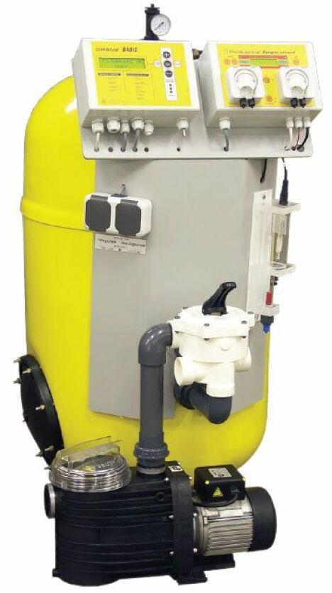 """Centrale de filtration et désinfection Dinotec Watercom Slimline Basic<span class=""""normal italic petit"""">© Dinotec Watercom</span>"""