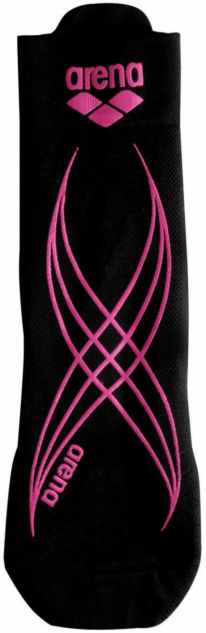 Chaussette d'aquagym anti-dérapante noire et rose Arena