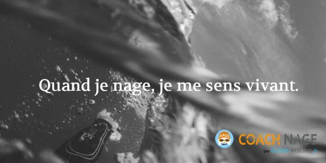 """Citation natation - Quand je nage, je me sens vivant.<span class=""""normal italic petit"""">DR</span>"""
