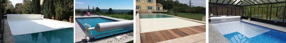De gauche à droite : volet hors-sol, Slide & Roll, volet immergé et volet à lames polycarbonate© Azenco