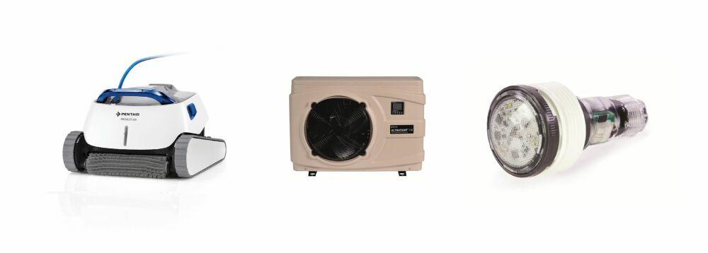 De gauche à droite, le robot de piscine Prowler 930, la pompe à chaleur UltraTemp HX et le projecteur de piscine MicroBrite© Pentair