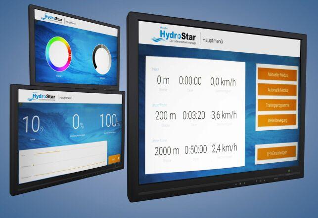 Des programmes d'entraînement individuels peuvent être générés et des ondulations produites grâce au nouvel écran tactile pour les turbines de nage à contre-courant HydroStar de BINDER