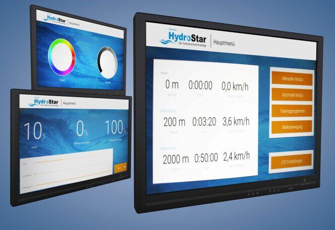 """Des programmes d'entraînement individuels peuvent être générés et des ondulations produites grâce au nouvel écran tactile pour les turbines de nage à contre-courant HydroStar de BINDER<span class=""""normal italic petit"""">© Binder</span>"""