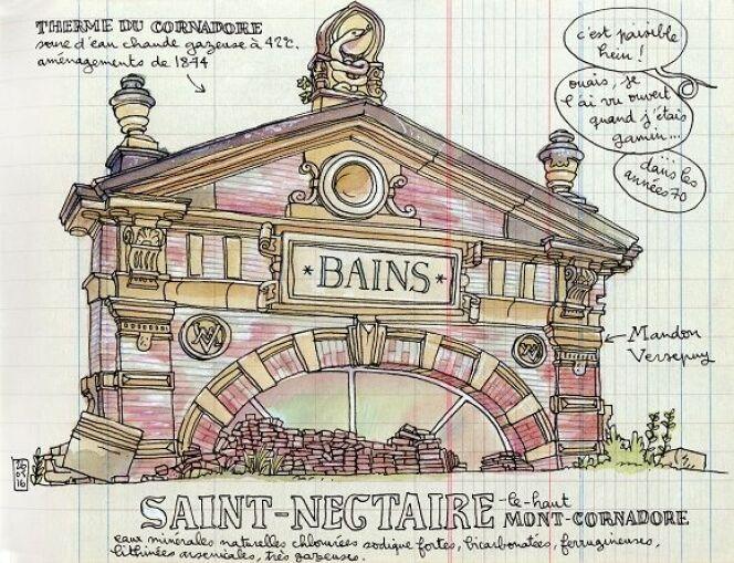Dessin de l'artiste lapin, venu en séjour à Saint-Nectaire en 2016