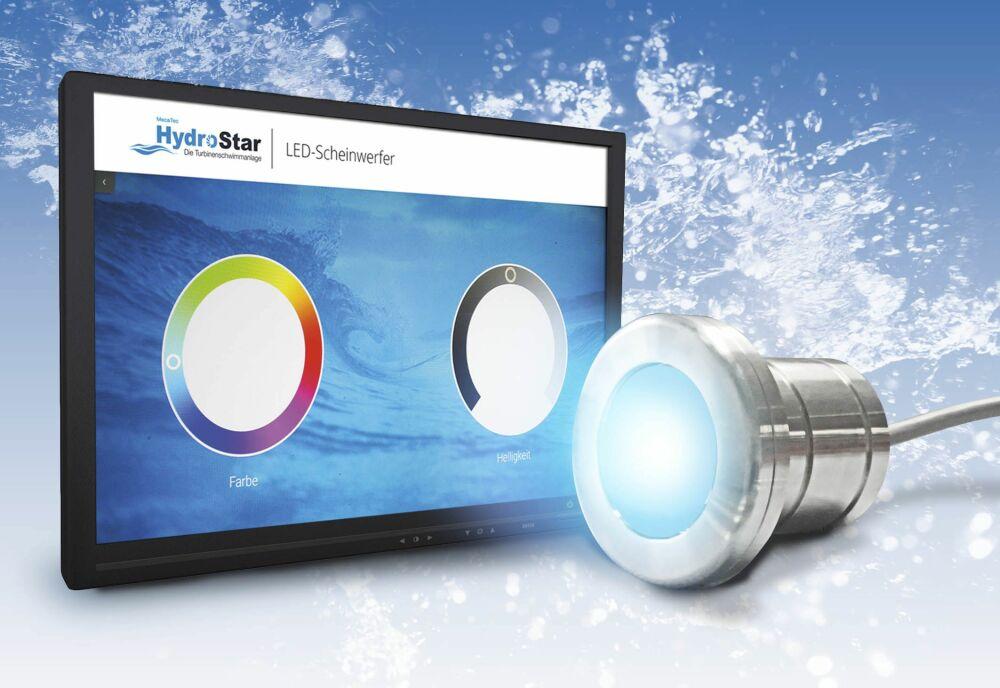 Les nouveaux projecteurs LED créent un éclairage d'ambiance et transforment l'entraînement avec piscine à turbines HydroStar de BINDER en véritable expérience.© BINDER