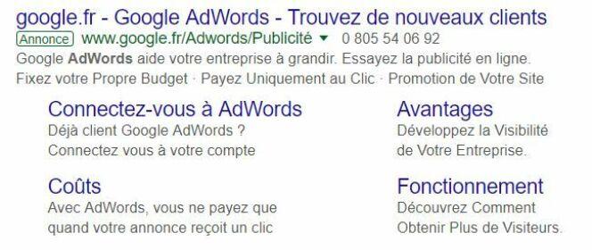 La structure d'une annonce Google AdWords.