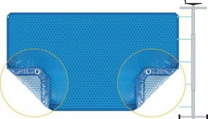 """L'enrouleur pour bâche à bulles permet de manipuler facilement votre bâche.<span class=""""normal italic petit"""">© Albon</span>"""